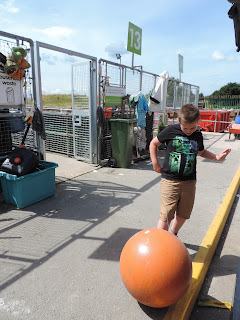 large orange ball going in portsmouth tip recycling centre