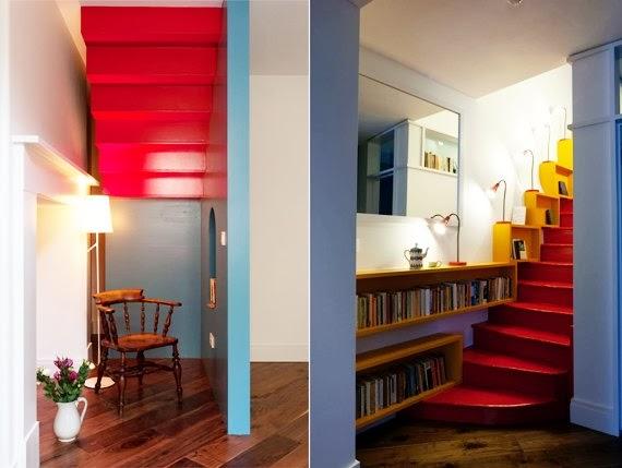 vermelho amarelo azul - cores primárias - escada  colorida