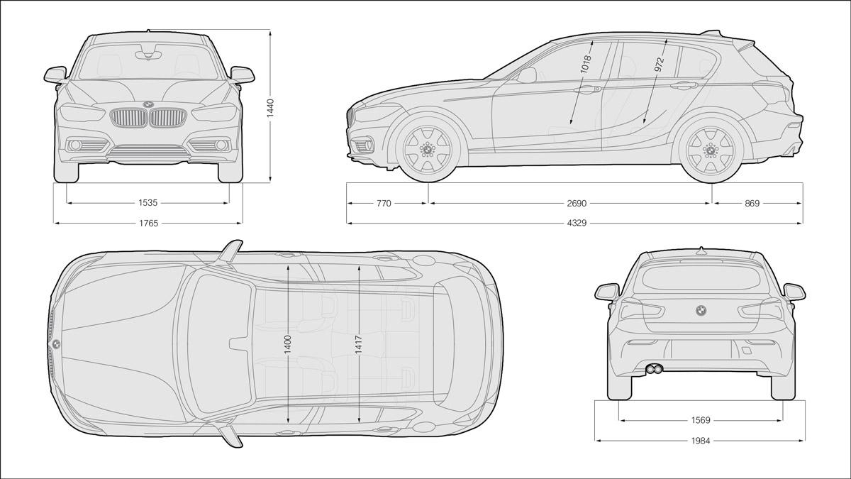 Schema tecnico quotato con tutte le dimensioni e misure di BMW Serie 1 (5 porte)