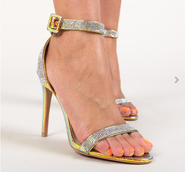 Sandale de nunta elegante cu toc subtire aurii cu pietricele sclipitoare