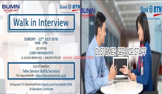 Lowongan Kerja D3 di PT Bank Tabungan Negara (BTN) - Costumer Service Staff