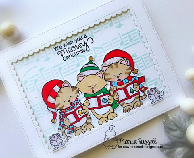 Meowy Christmas |  Caroling Cats Christmas card by Maria Russell | Caroling Newton Stamp Set and Music Stencil by Newton's Nook Designs #newtonsnook #handmade