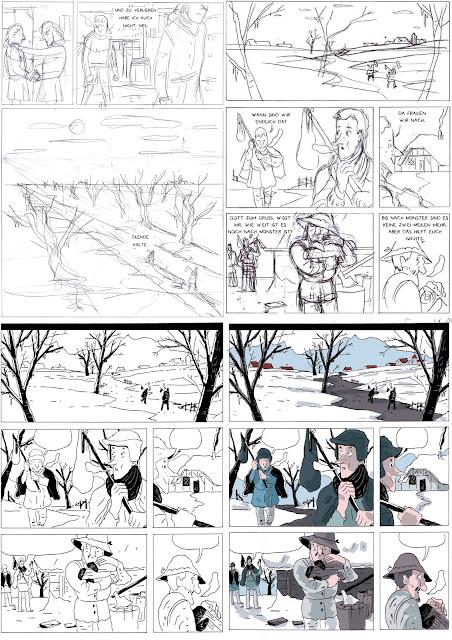 comic, storyboard, tuschen, kolorieren