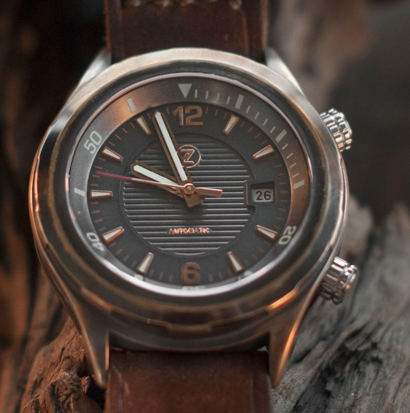 Zelos Helmsman watch with date display
