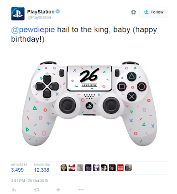 PlayStation 4 PewDiePie Sony controller gift birthday 26th official