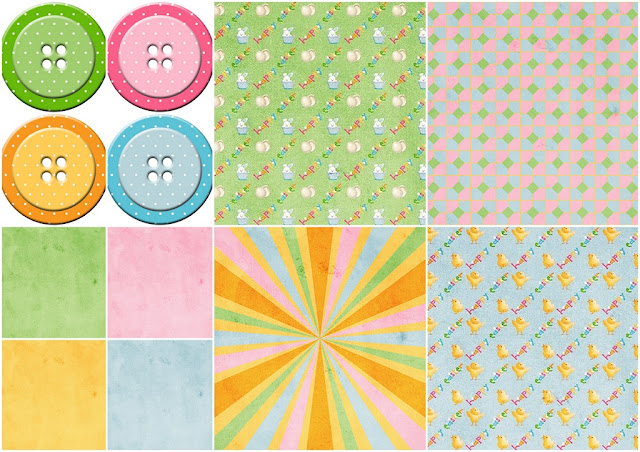 Papers and Buttons of the Sweet Easter Clipart.
