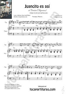 Trompeta y Fliscorno Partitura de Juancito es así Sheet Music for Trumpet and Flugelhorn Music Scores