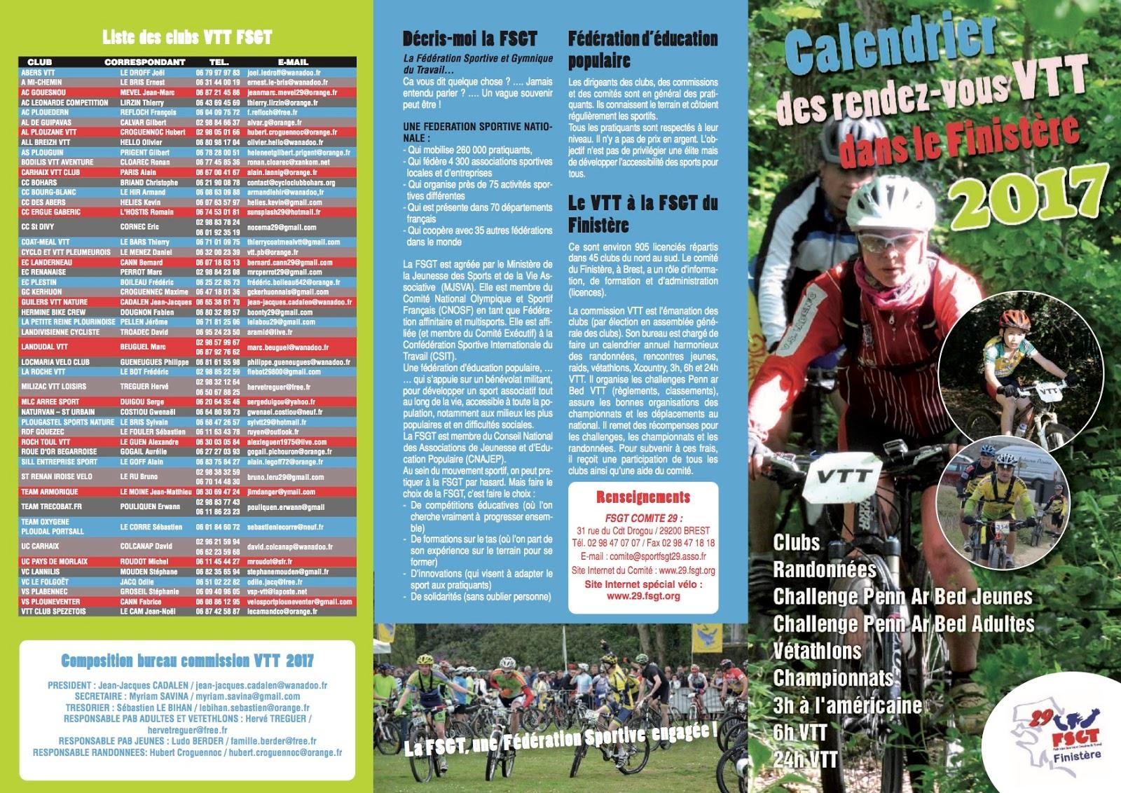 Calendrier Fsgt Cyclisme 2019.Club Cycliste Bourg Blanc Ffc Fsgt Calendrier Vtt Fsgt 2017