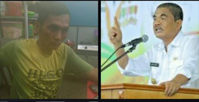 Aktifis mahasiswa di Asahan Syarifuddin dan Bupati Asahan Taufan Gama Simatupang.