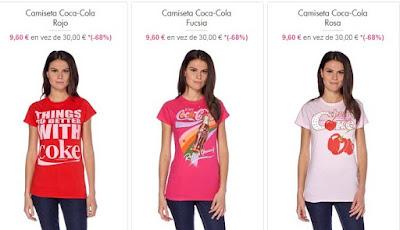 camisetas chica de coca cola