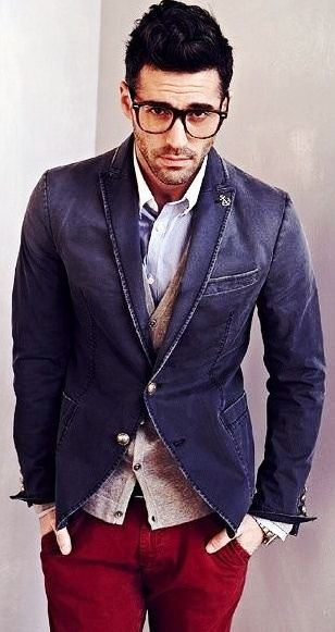 RED PANTS BLUE JACKET CHAMBRAY SHIRT COMBINATION FOR MEN ...