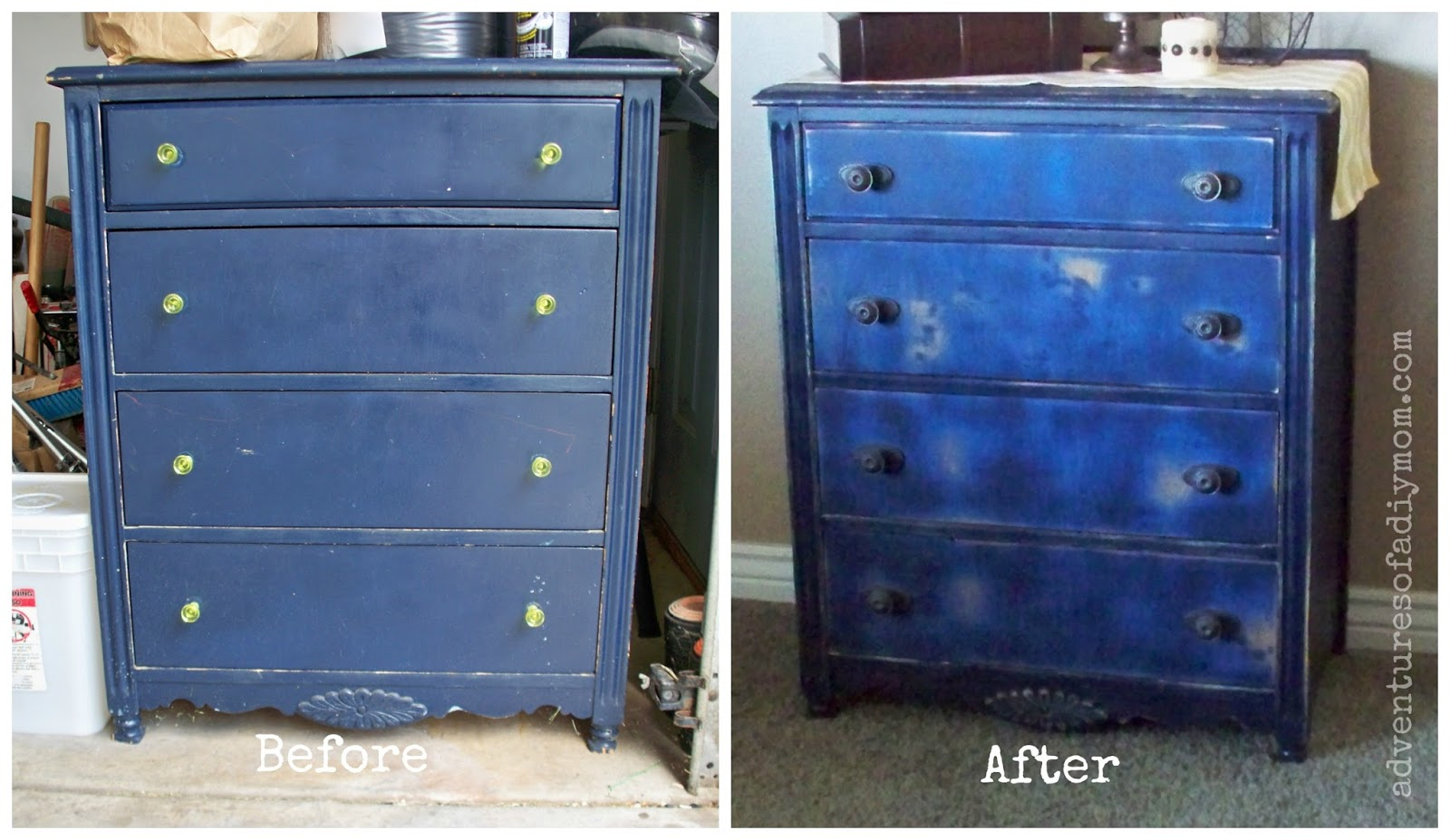 Before and After Blue Distressed Dresser