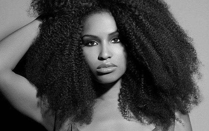black woman on full natural hair