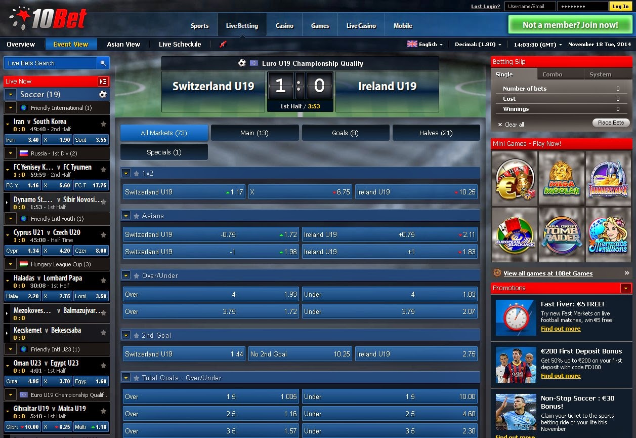 10bet Live Betting Screen
