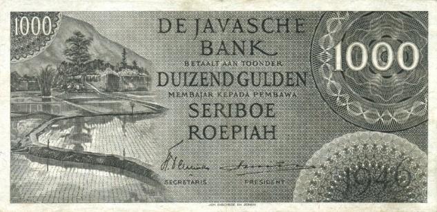 1000 rupiah versi DJB 1946 depan