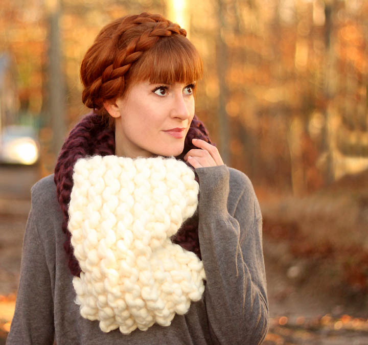 Beginner Jumbo Cowl Knitting Pattern by Gina Michele