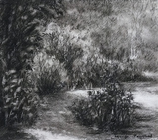 A charcoal drawing of a scene from Matheran by Manju Panchal