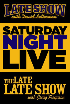 Title cards or logos to 'The Late Show with David Letterman', 'Saturday Night Live', and 'The Late Late Show with Craig Ferguson'