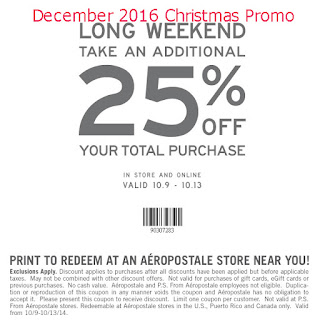 Aeropostale coupons december 2016