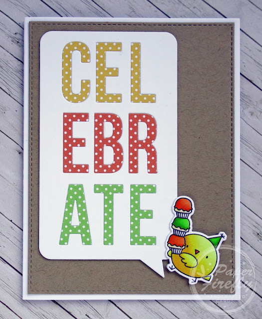 Celebrate speech bubble birthday card with cute chick (image from Birthday Chicks set by My Favorite Things)