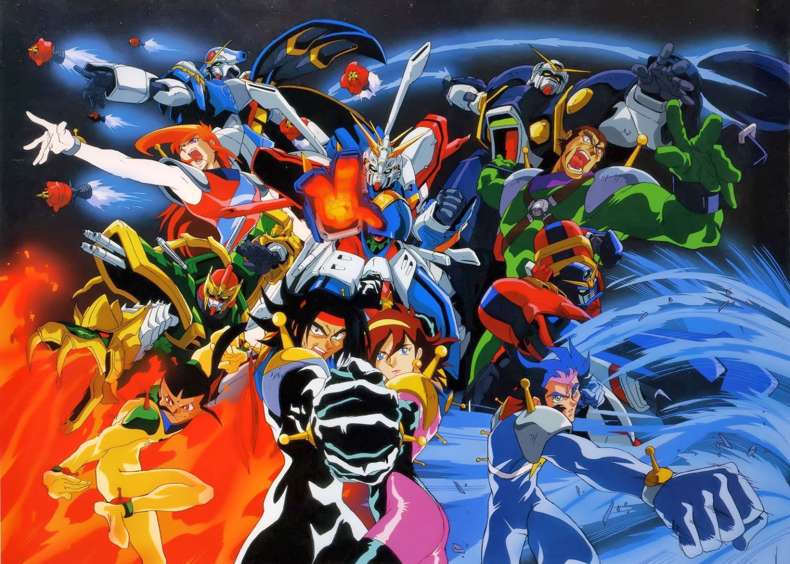 The cast of Mobile Fighter G Gundam
