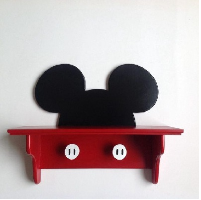 unique wooden Micky mouse wall shelf idea
