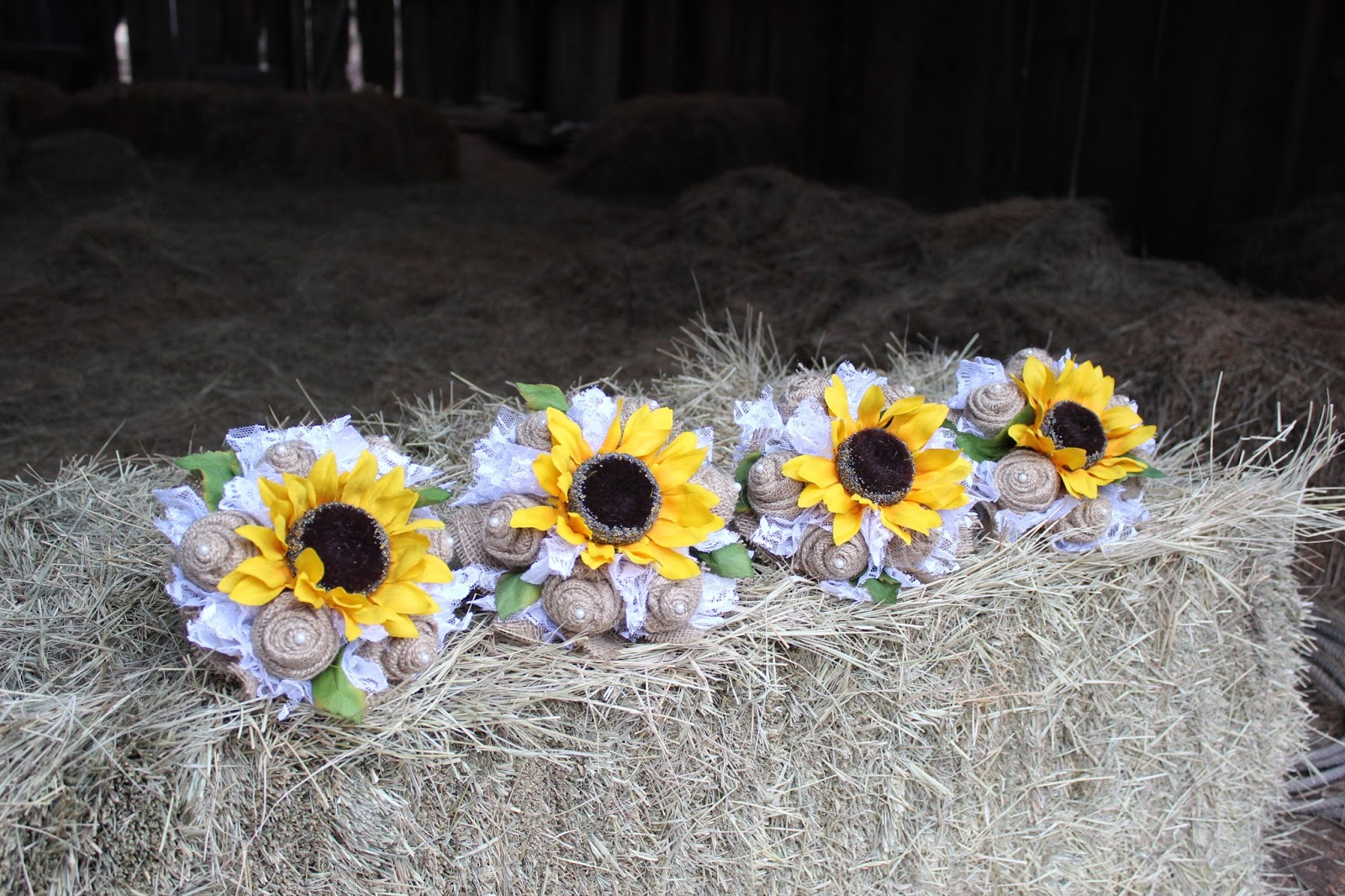sunflower, burlap and lace wedding bouquets