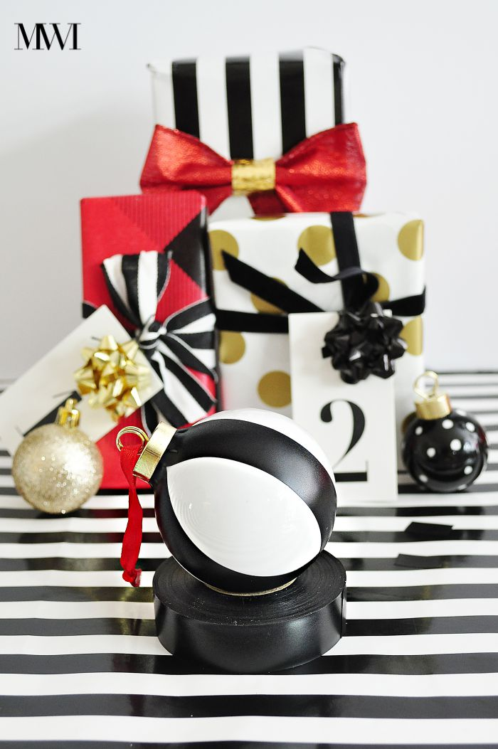 Kate Spade inspired black and white striped ornament