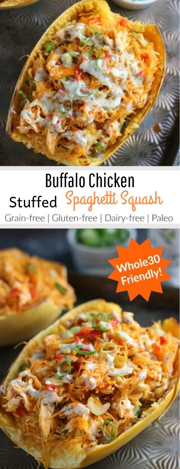 Buffalo Chicken Stuffed Spaghetti Squash #paleo #glutenfree