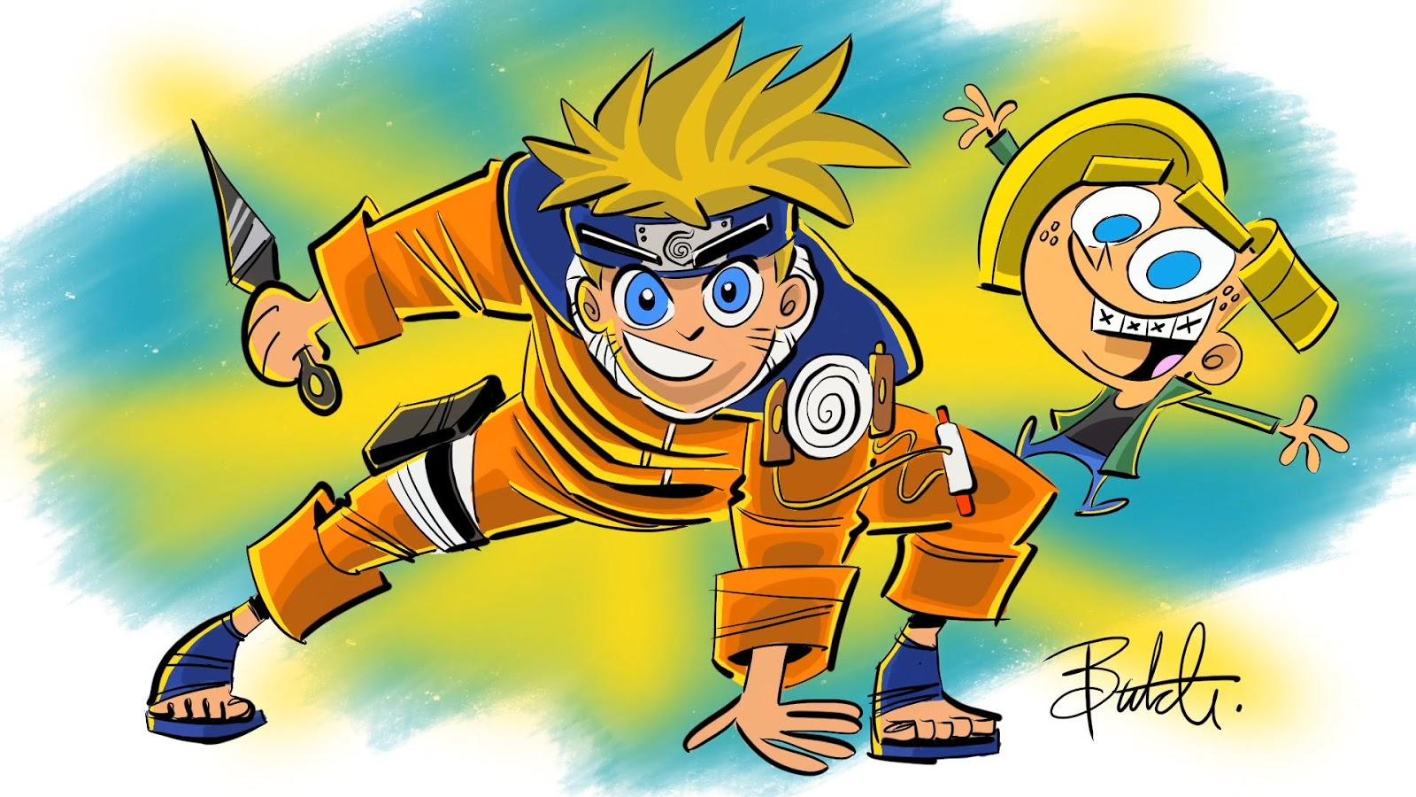 Naruto narysowany przez Butcha Hartmana w stylu Wróżków chrzestnych