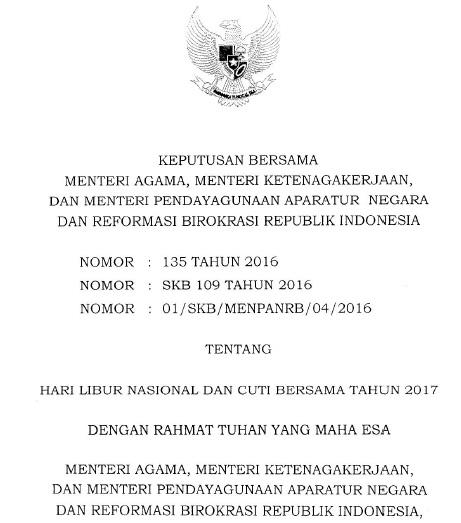 Jadwal Resmi Hari Libur Nasional dan Cuti Bersama Tahun 2017 Berdasarkan SKB 3 Menteri