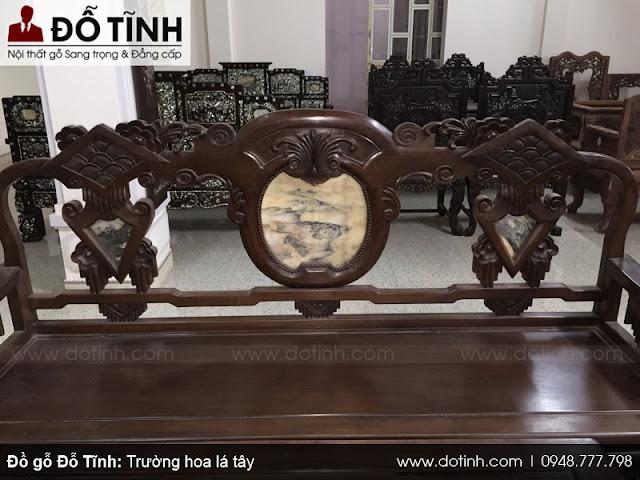 Bộ trường kỷ hoa lá tây - Gỗ gụ mật - Mẫu ghế trường kỷ gỗ đẹp 2017
