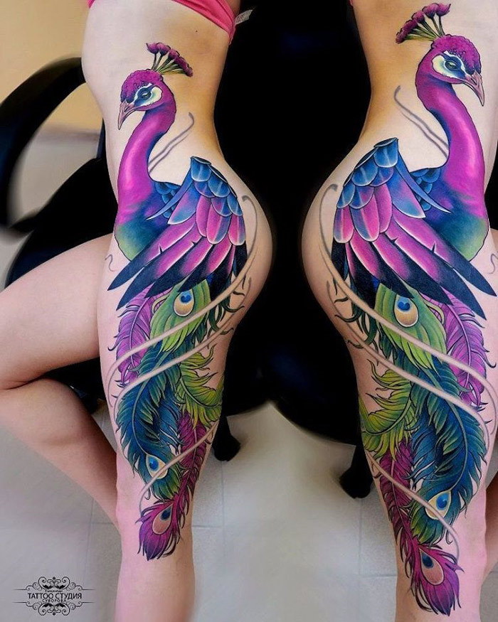 12 Colorful Peacock Tattoos For Women