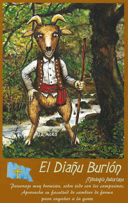 Postal mitología asturiana. Ed. Moro. Diablo burlón