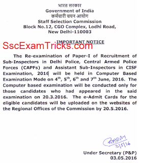 SSC CPO Paper I Re-exam 2016 Notice