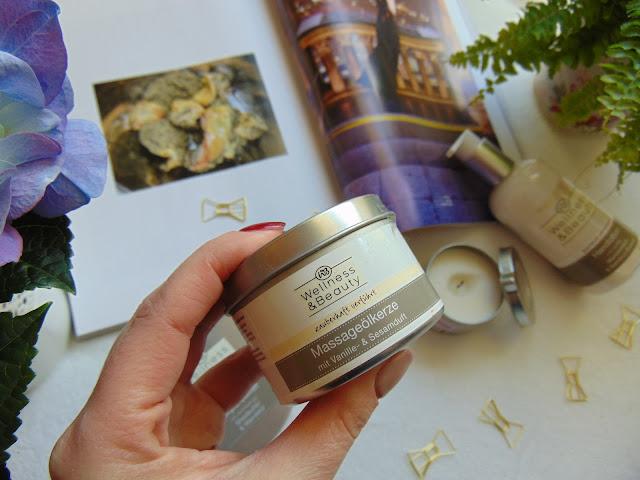 Wellness & Beauty - Świeca olejowa do masażu wanilia i sezam oraz róża i wiśnia. Świeca do masażu z Drogerii Rossmann