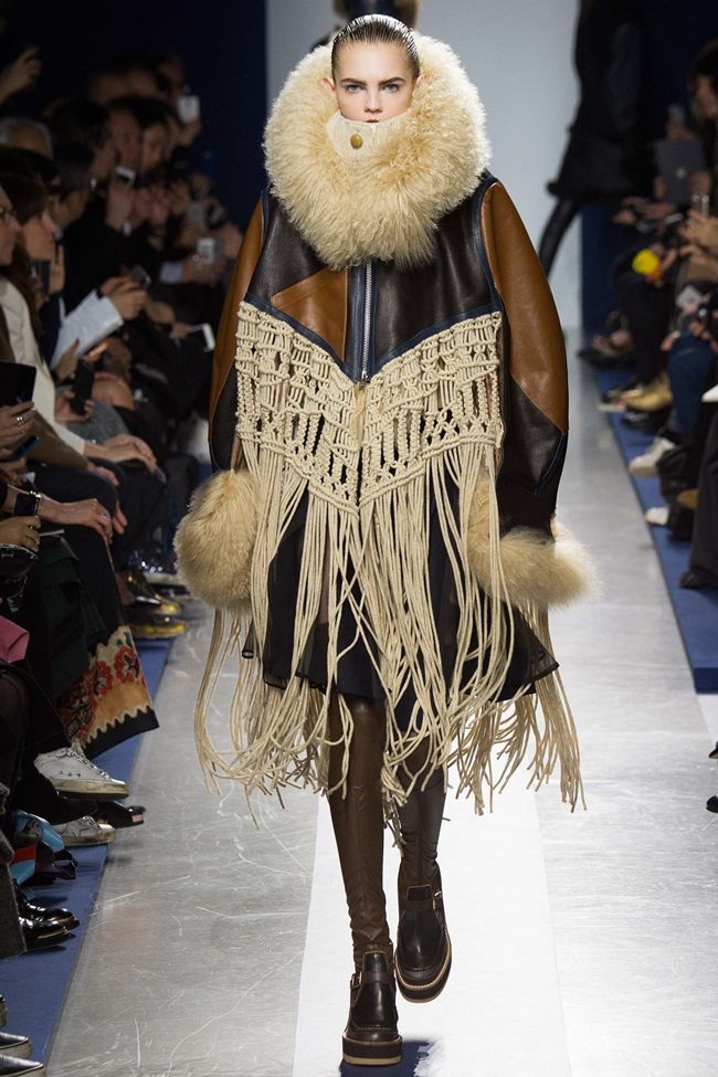 Sacai 2015 AW Beige Leather Coat with Mongolian Lamb Wool & Knitting Tassels on Runway