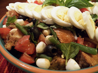 Egg Panzanella with Balsamic Dressing, closeup view