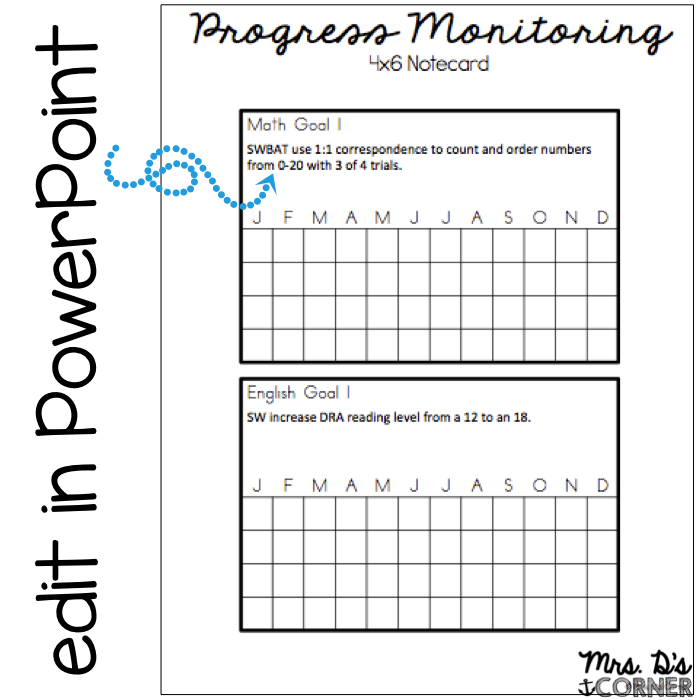 image regarding Printable Iep Goal Tracking Sheets identified as Developments Checking Generated Simple and Very simple - Mrs. Ds Corner