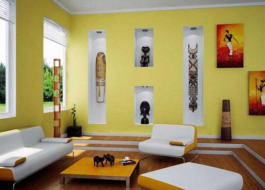 Contoh Cat Ruang Tamu Warna Kuning Terkini