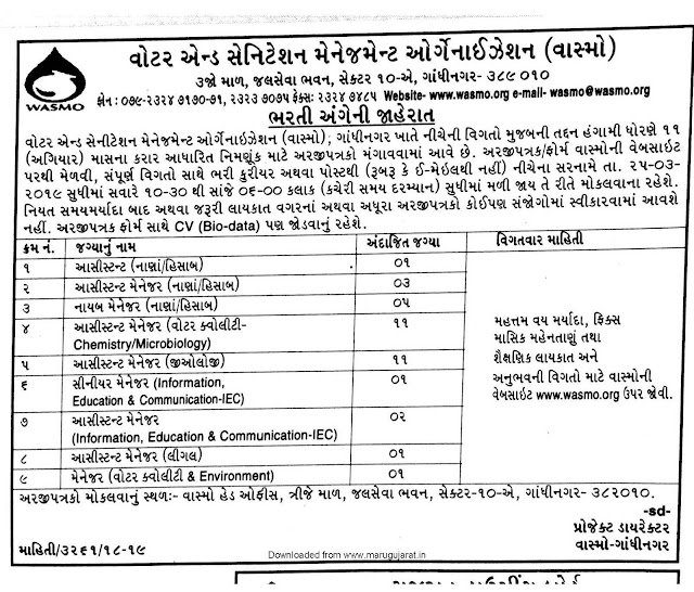 WASMO Recruitment 2019 / Assistant, Deputy Manager, Senior Manager & Other Posts: