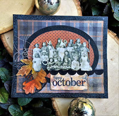 Sara Emily Barker https://sarascloset1.blogspot.com/2018/10/happy-october.html Tim Holtz Stampers Anonymous Sizzix Alterations Ideaology Halloween Autumn Card 1