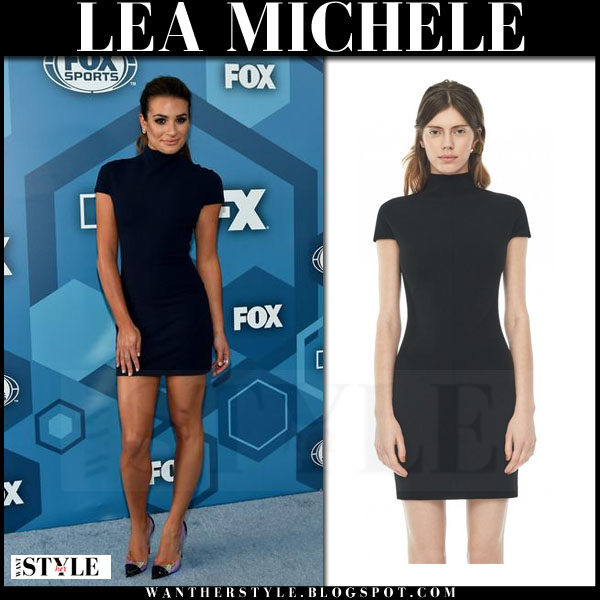 Lea Michele in black short sleeve mini dress solace london alana what she wore red carpet