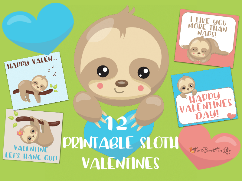 Adorable printable sloth valentines that sweet tea life save voltagebd Choice Image