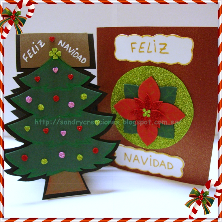 Sandrycreaciones postales navide as con goma eva o foamy - Manualidades tarjeta navidena ...