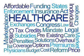 Healthcare word cloud featuring Managed Care, Healthcare Policy, Insurance