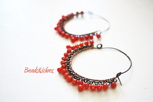 orecchini perline rosse beads and wires