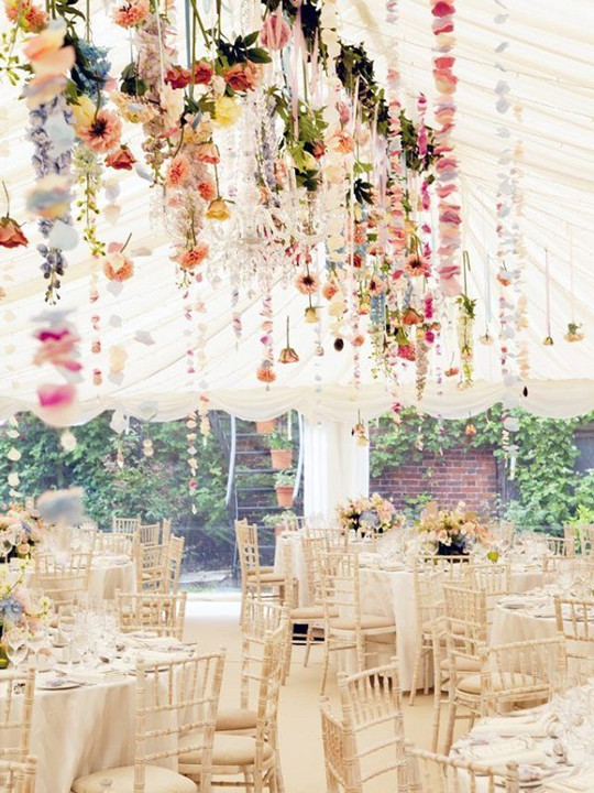 vintage chic hanging fall flowers wedding decor ideas