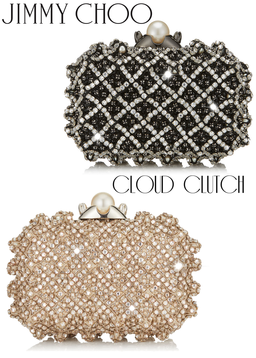 JIMMY CHOO CLOUD CLUTCHES AVAILABLE IN BLACK AND PEARL SATIN