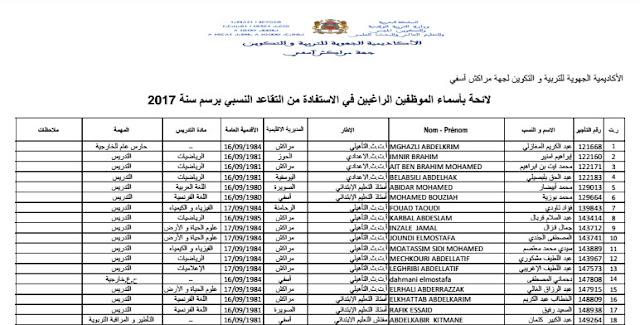 لائحة المستفيدين من التقاعد النسبي 2017 بجهة مراكش آسفي